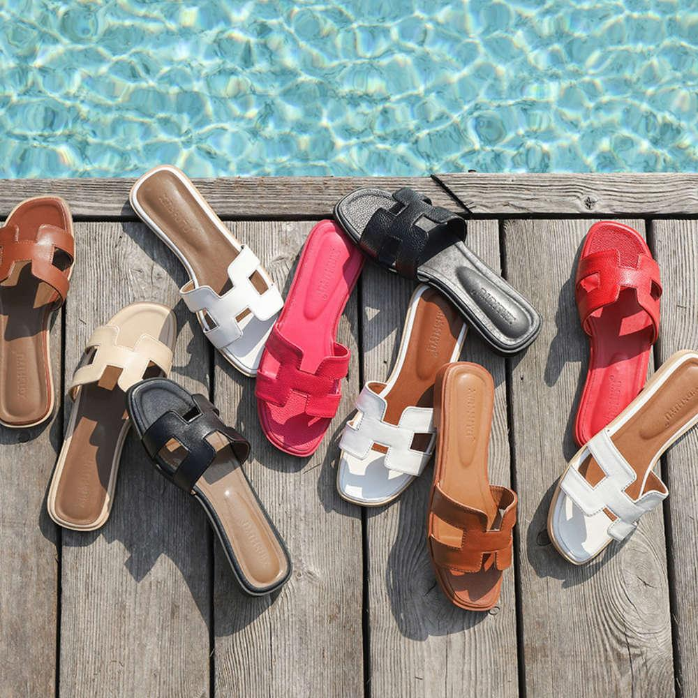 Flip Flop FlopBeach Flache Unterseite H Schleppnetz Rote Mode Fairy Wind Flache Boden Sandale Frauen Sommer