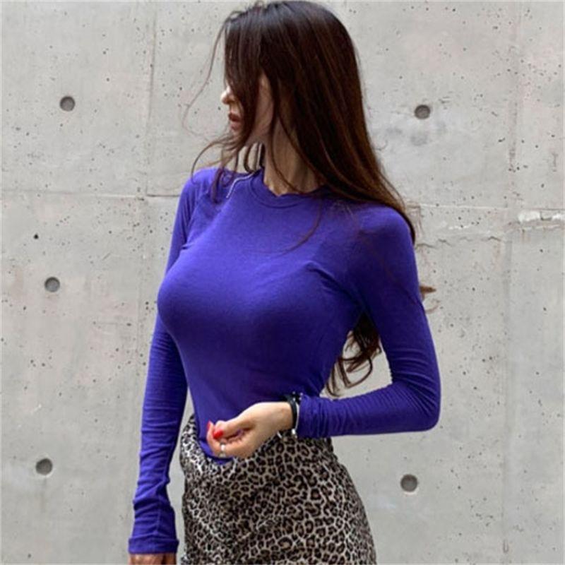 Koreanische Frauen sexy eng anliegende Brust Stretch langärmeliges T-shirt Bequemes Bottoming-Hemd Herbst 210603