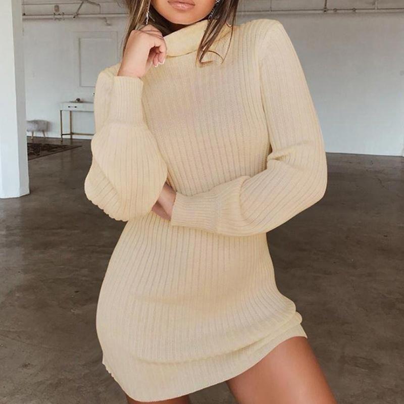 Vestido de malha mulheres alto pescoço slim sólido camisola de lã vestidos de inverno outono moda básica manga longa vestido casual