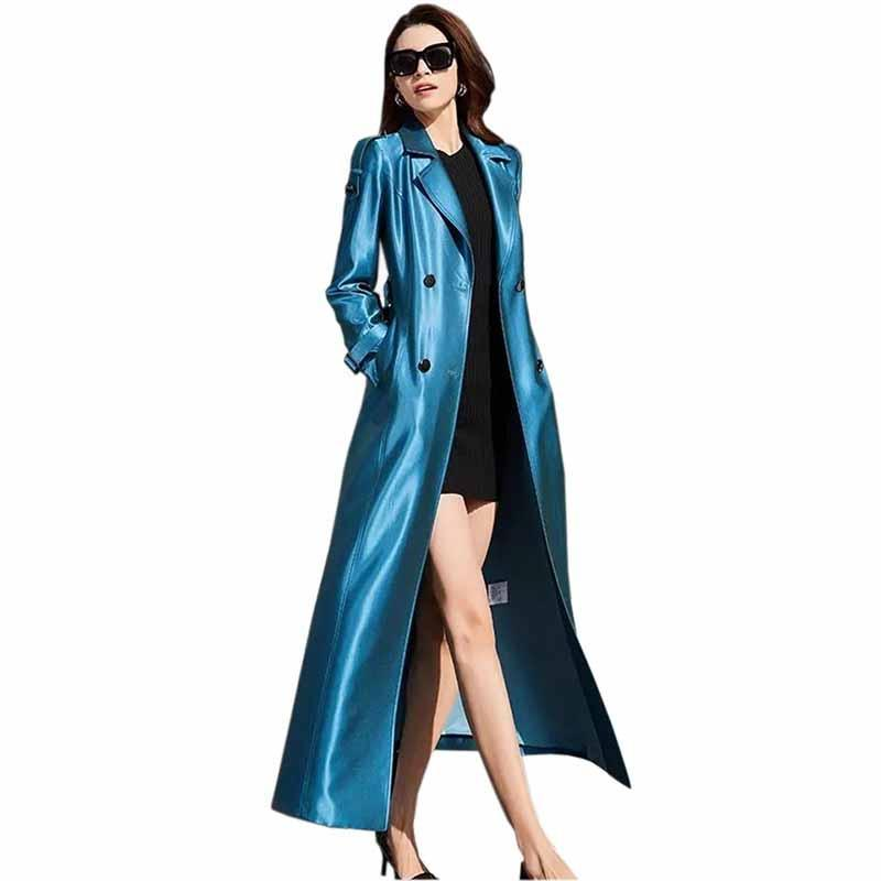 المرأة الخندق معاطف الأزياء x- طويلة معطف المرأة ربيع الخريف لامع مزدوجة الصدر الأزرق سترة واقية زائد الحجم سليم حزام عارضة أبلى KW31