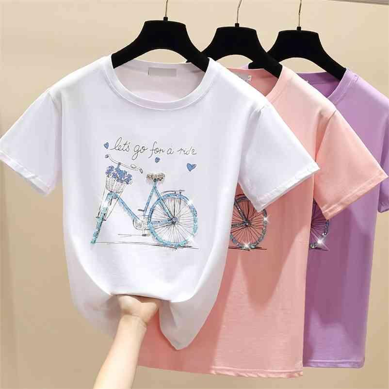 GKFNMT Beading Imprimir Pink T Shirt Verano Manga corta Mujeres Top Top Blanco Tshirt Algodón estilo coreano Camiseta Ropa de mujer 210320