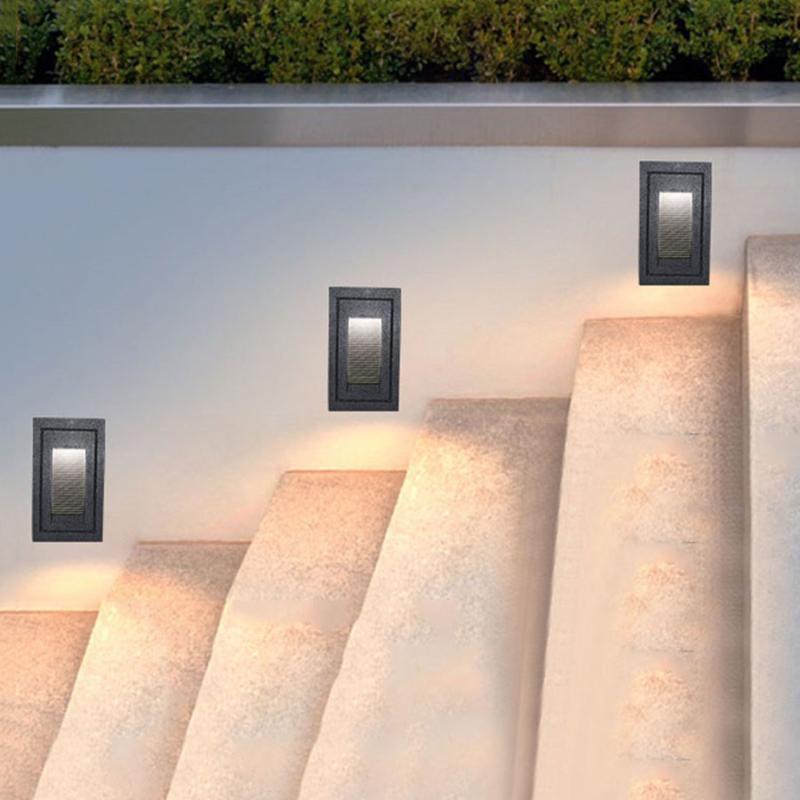 방수 recessed 스텝 조명 알루미늄 Led 마운트 계단 실내 / 실외 벽 램프 가든 통로 복도 발언 야외 램프