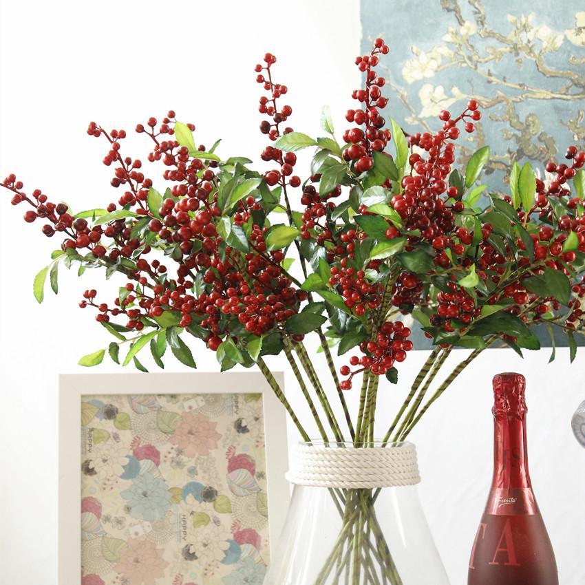 Christmas Berry High Quality Artificial Blueberry Fruit Home Flower Arrangement Decoration Fake Flower