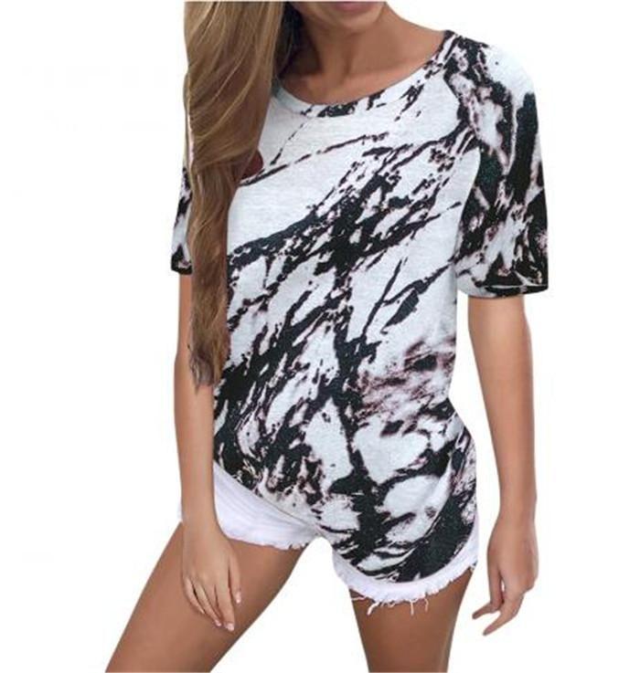 Женская футболка 2021 Свободная верхняя галстука Красятая напечатана с коротким рукавом для женщин в возрасте 35-45 лет V-образным вырезом CN (происхождение)