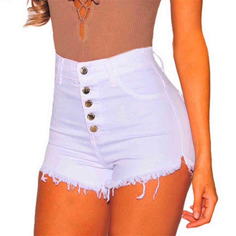 Damen Shorts Shorts Baumwolle Hohe Taille Quaste Casual Denim Frauen Button Untere Stretch Skinny Sexy Jeans Solide Farbe Dame Stree CFL9