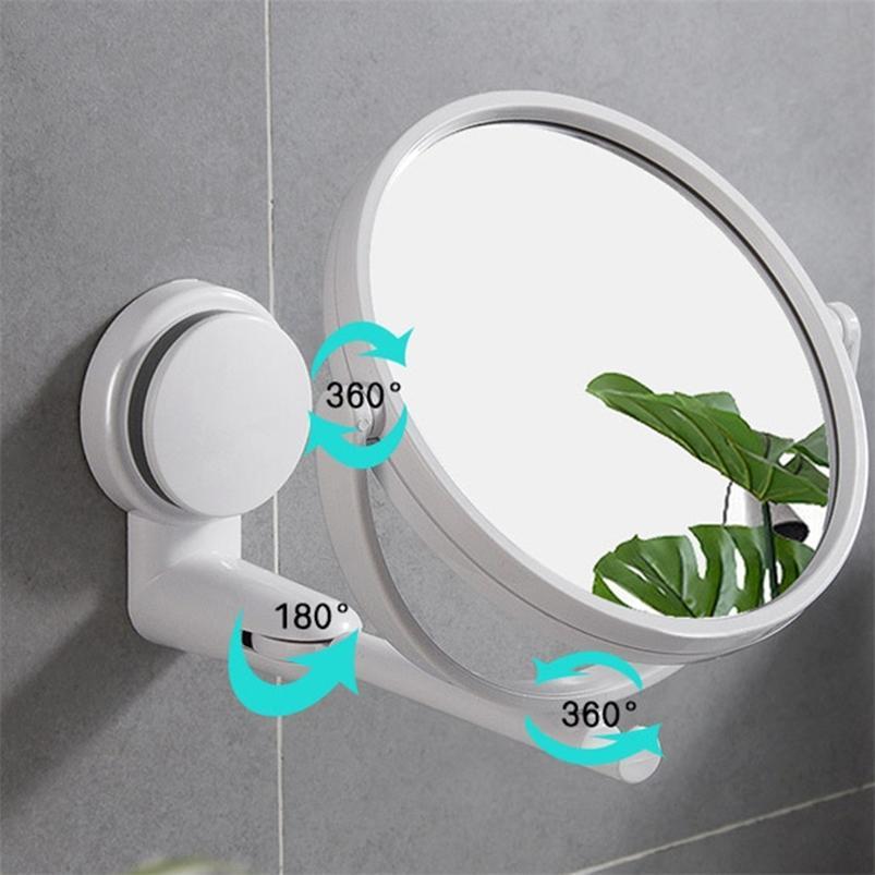 Maquillage Mirror Mur Mur Double face Mur Petite salle de bain Accessoires de perforation gratuite 210423