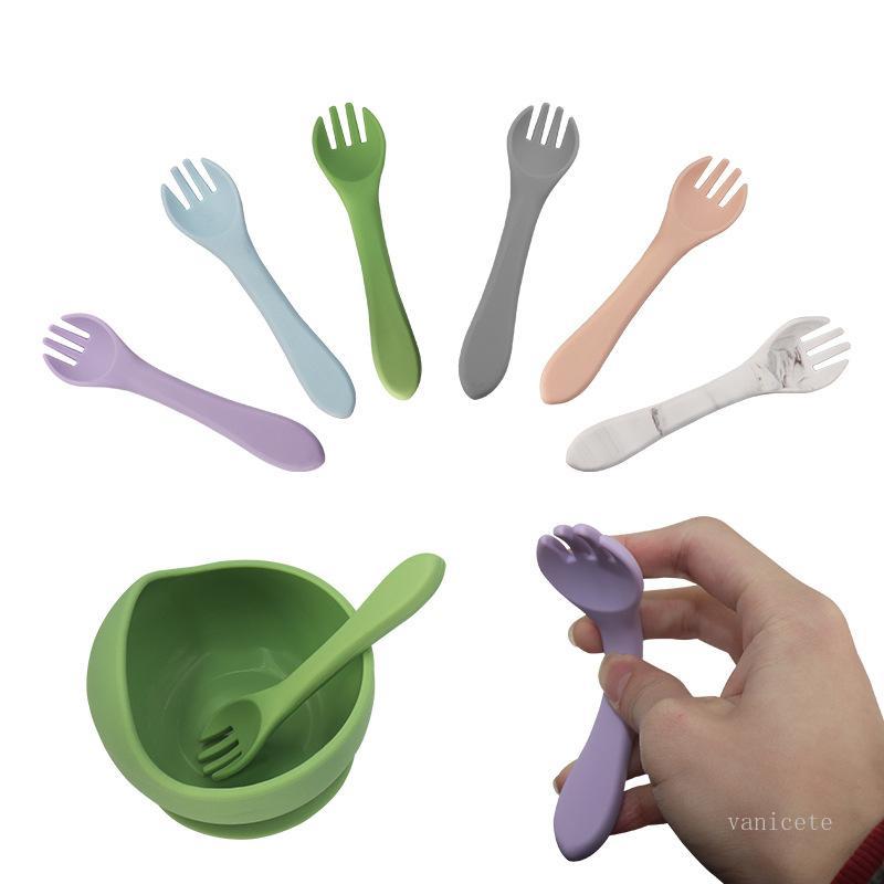 طفل سيليكون شوكة الطفل تعلم أن تأكل استيعاب قدرة التدريب السكاكين جميل الأطفال التغذية الملحق لينة الشوك T500547
