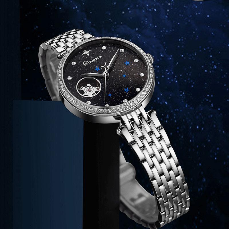 Saatı 2021 Devena Otomatik Mekanik İzle Kadın Yıldızlı Sky Lady Elmas Ölçekli Saat Kadın Hollow Saatler Su Geçirmez