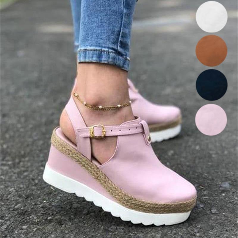 Artı Boyutu 35-43 Platformu Sandalet Takozlar Kadınlar Için Ayakkabı Topuklu Sandalias Mujer Yaz Karakolları Bayan Zapatos De Hombre