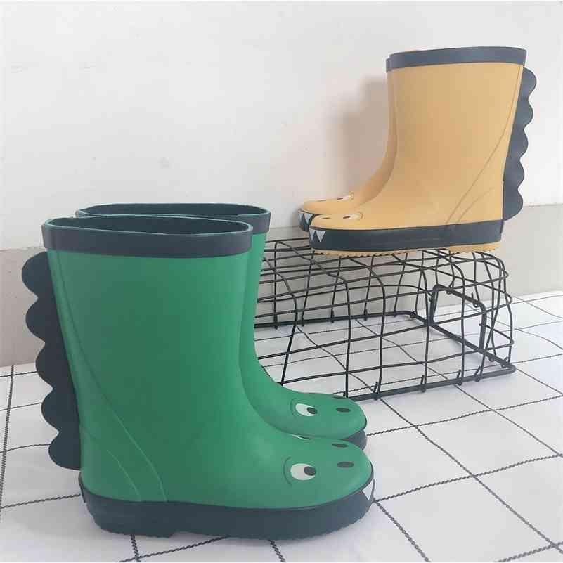 Botas impermeáveis de borracha 3D para crianças meninos e meninas moda pequeno dinossauro chuva botas verde amarelo crianças sapatos ao ar livre D03142 210326