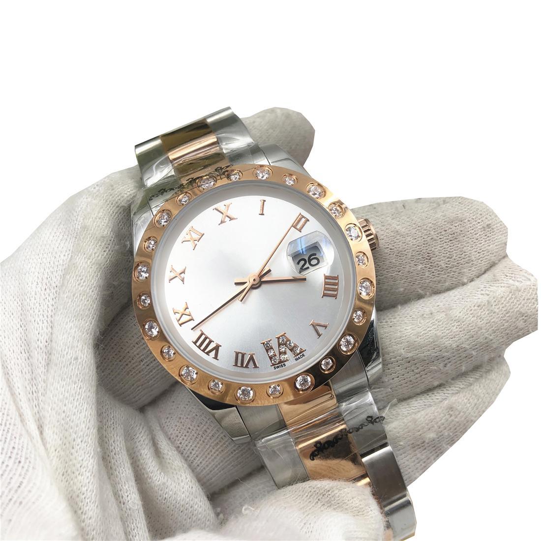 Top Hot Mens automático Roma Relógio Noctilucent Negócios À Prova D 'Água Luxo Relógio De Aço Diamante Strap Relogio Mulheres 36mm