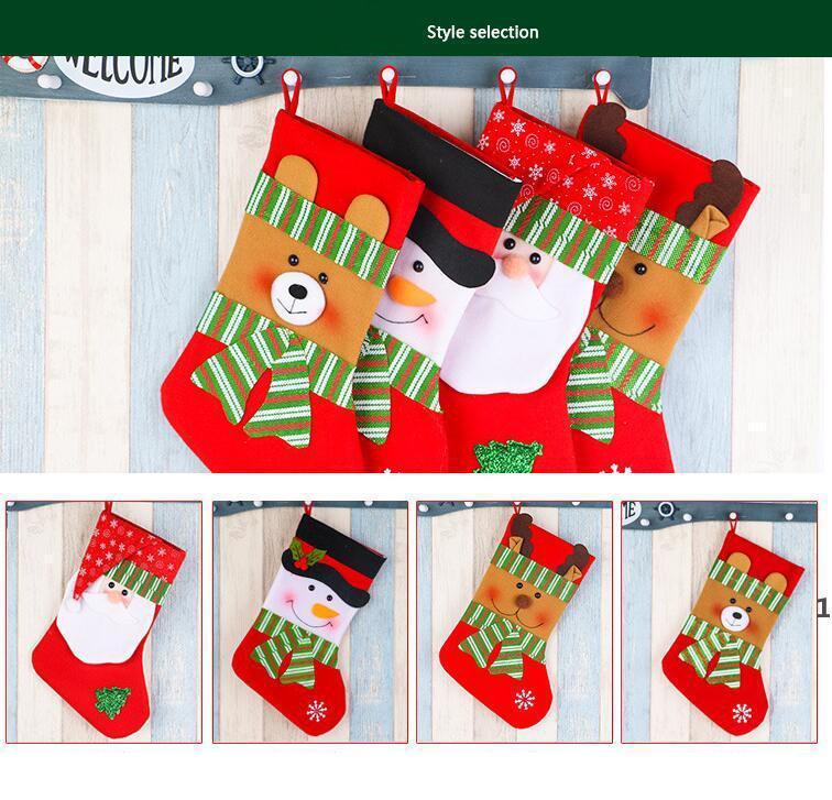 Рождественские товары подарочные сумки украшения подвеска, давая мешок носки украшения высококачественный полосатый большой красный и зеленый снеговик снежинка HHF8264