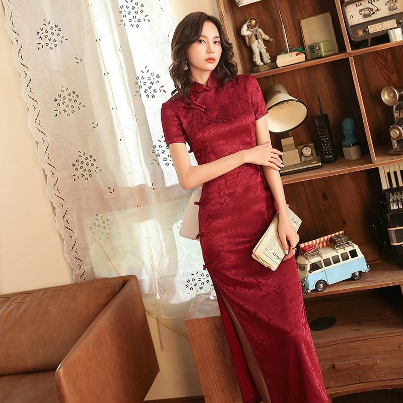 Sheng Coco Robe Orientale 2021 자카드 새틴 긴 청사 드레스 개선 된 전통 중국어 Qipao 레드 이브닝 드레스 민족 의류