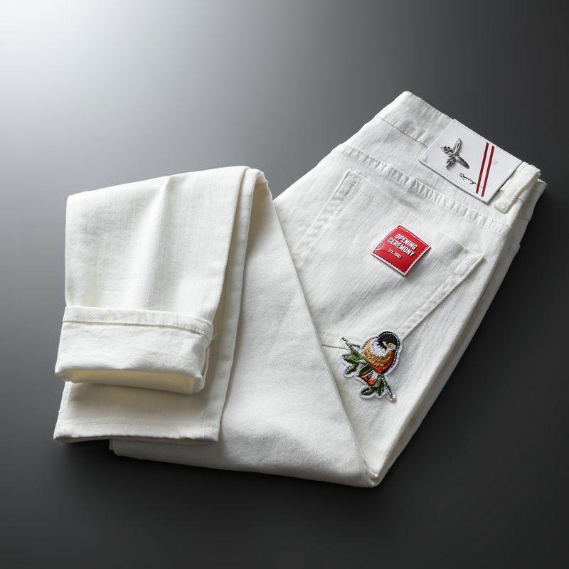 Moda na moda bordado letras homens faculdade meninos magro pista de corrida zíper calças denim destruídas jeans preto branco homens