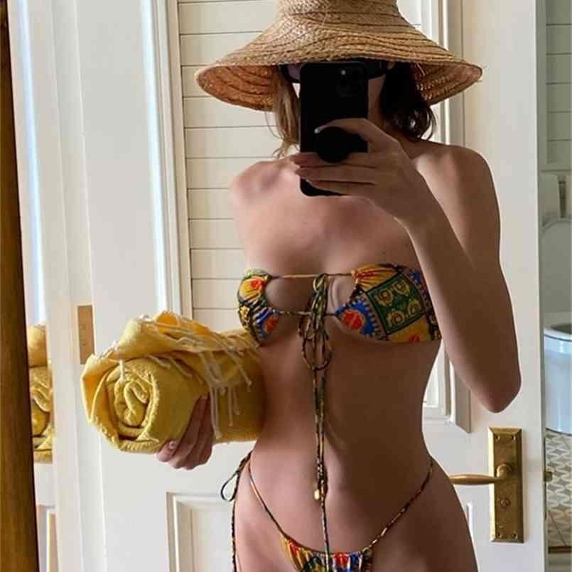 Seksi Hollow Bikinis Katı Bather Suit Bandaj Push Up Mayo, Monikinis İki Parçalı Düşük Bel Tanga Beachwear 210708