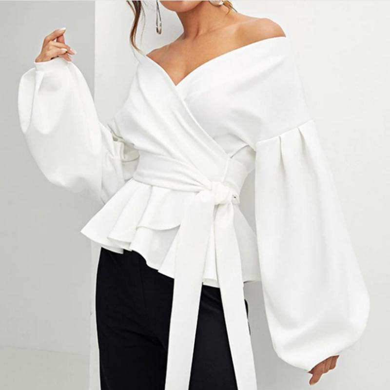 Mulher blusa 2021 outono branco escritório senhora cinto elegante lanterna manga camisas fora do ombro sólido sexy tops vestuário blusas femininas