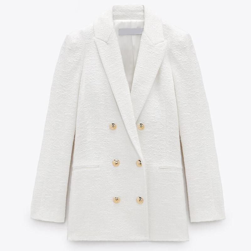 Women's Suits & Blazers 2021 Spring Autumn Women Fashion White Pink Tweed And Jackets Chic Button Office Suit Coat Ladies Elegant Outwear