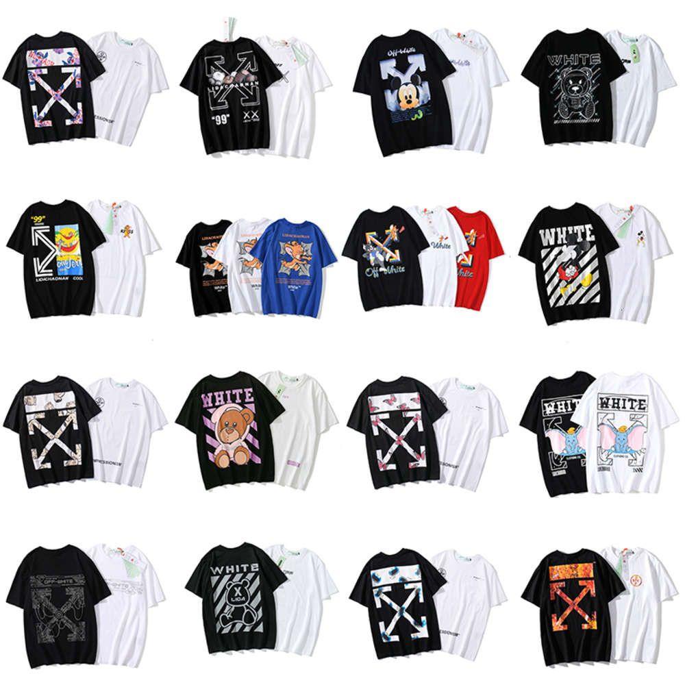 21ss мода бренда с экипажа шеи с коротким рукавом мультфильм личность стрелкости белые мужчины и женщины свободная пара летняя футболка лета