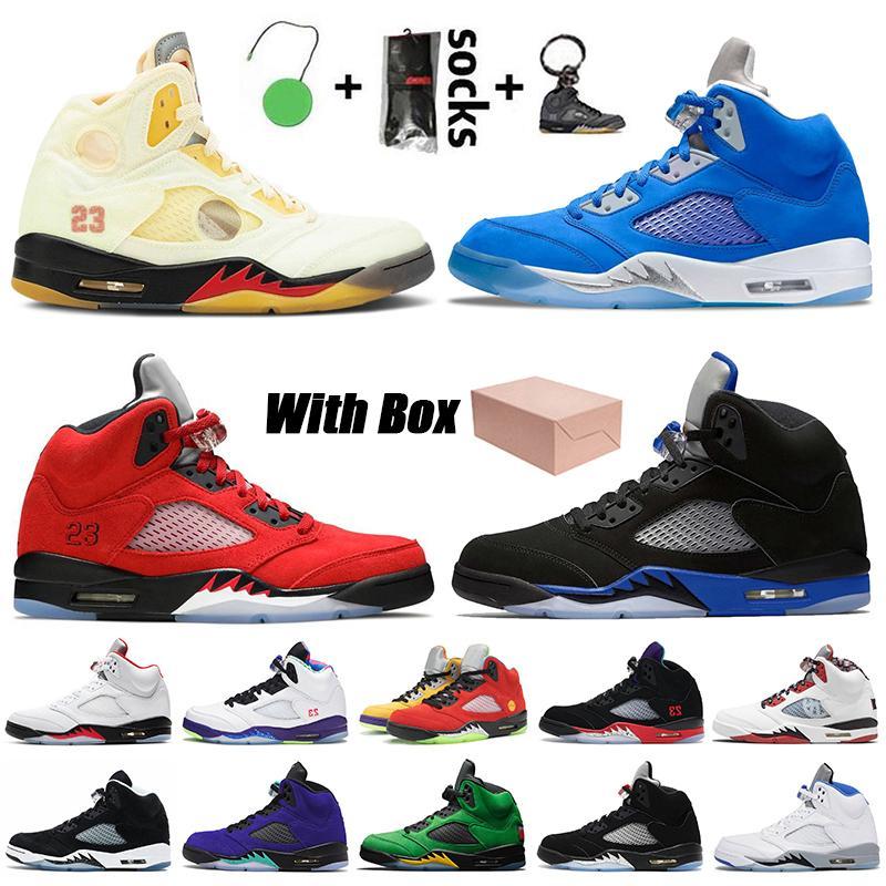 Nike Air Jordan 5 Off White Jordan Retro 5s JUMPMAN رجل كرة السلة أحذية شراع النار الأحمر المتسابق الأزرق Raging Bull بلوبيرد أوريغون البط الشبح أحذية رياضية