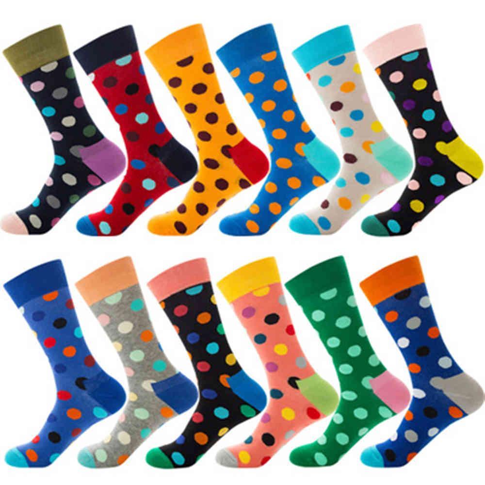Polka Dot 12 Color Street Tendances HOP-HOP, hommes et femmes en chaussettes en coton ZQ045