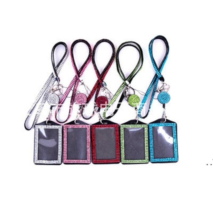 Keychain 휴대 전화 케이스 ID 배지 라인 석 블링 밧줄 크리스탈 다이아몬드 목걸이 키 체인 여성 전화 및 키 액세서리 DWA4327