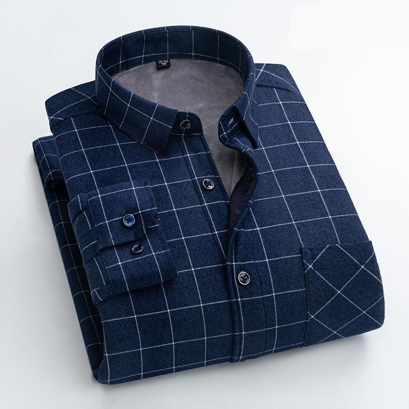 브랜드 남성 겨울 따뜻한 긴팔 셔츠 플란넬 격자 무늬가 두꺼워졌고 편안한 대형 캐주얼
