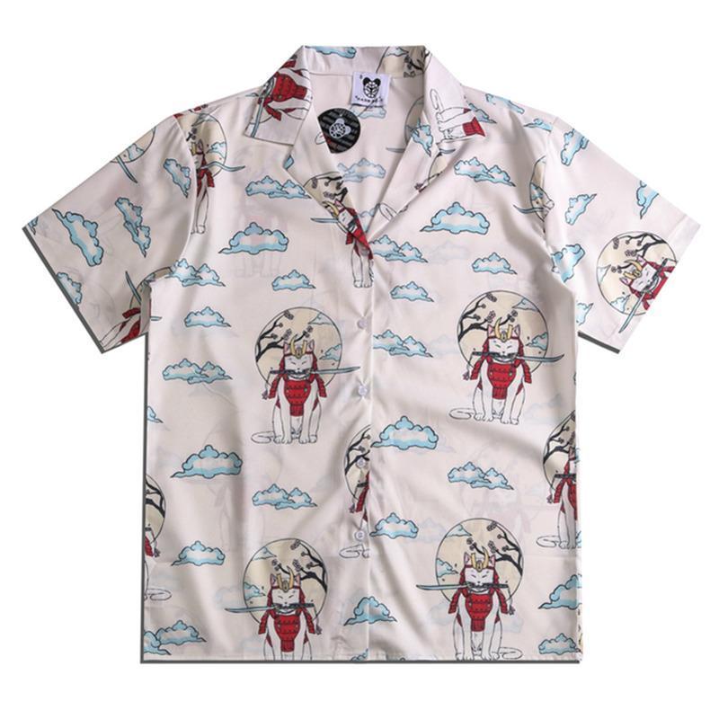 Camicie casual da uomo divertente gatto pieno stampato anime estate manica corta hawaiian beach streetwear hip hop coppia coreana moda