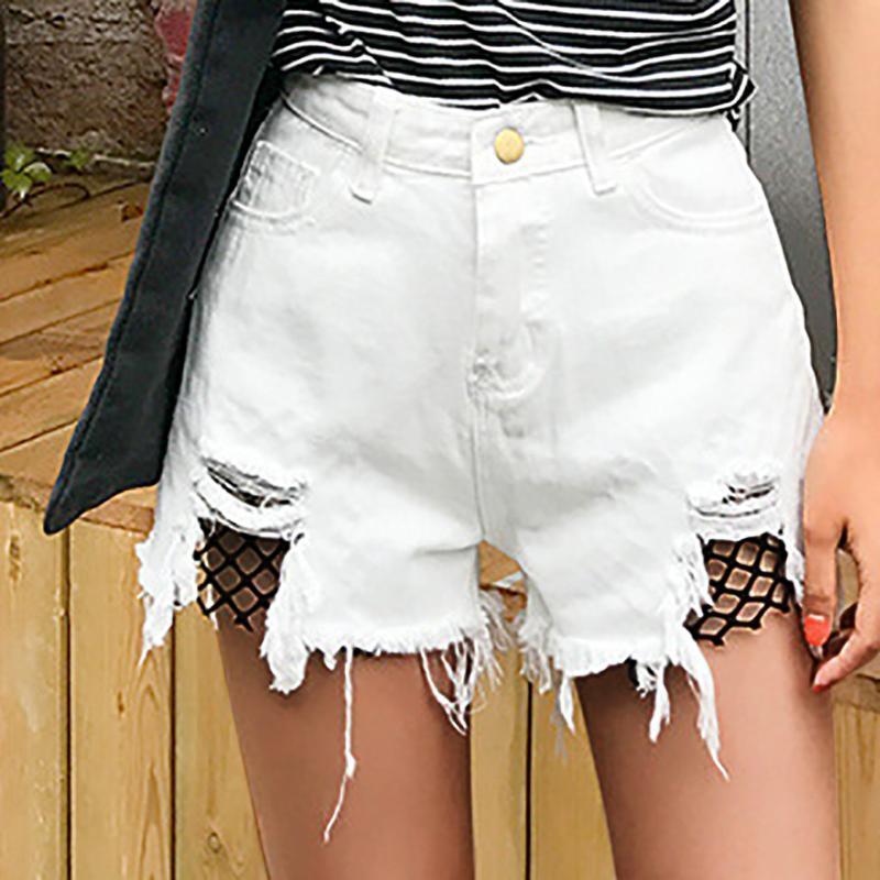 Taille haute Jeans Shorts Femmes 2021 Décontracté Denim Summer Sexy Fishnet Splice Plage MA8 Femmes