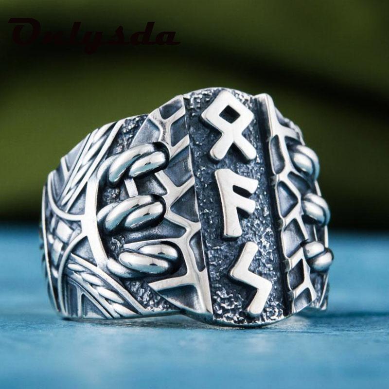 Gota de acero inoxidable odin nórdico vikingo amuleto runa estilo moda hombres y mujeres palabras retro anillos joyería cluster