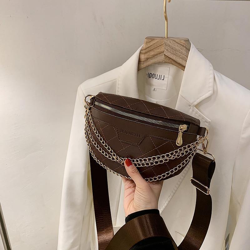 2021 Sommer Frauen Brusttasche Mode Taille Schulter Neue Western Stil Kette Handtasche Messenger Herbst Rhombic Casual Ujrbg