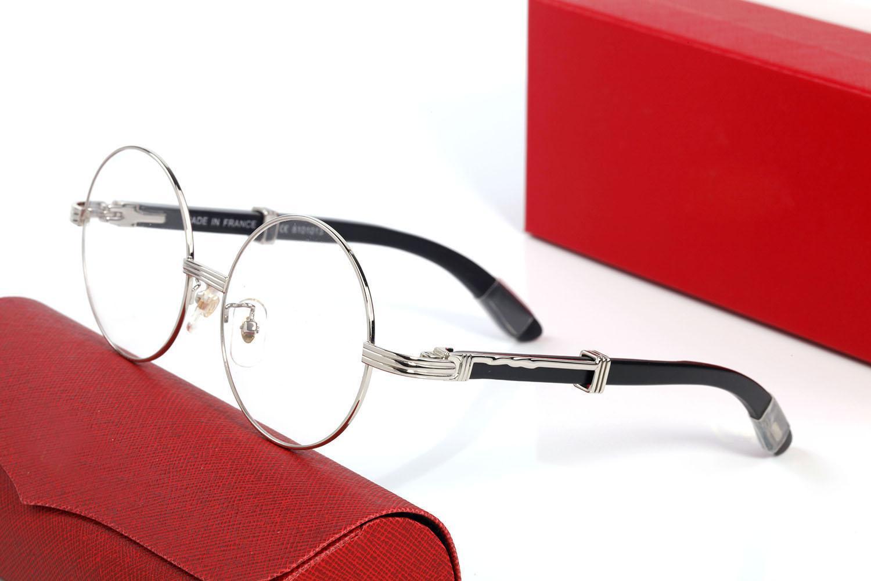 Yuvarlak Buffalo Boynuz Güneş Gözlüğü Erkekler Kadınlar için Çerçeveli Güneş Gözlükleri Vintage Tasarımcı Gözlük Altın Gümüş Çerçeve Kahverengi Ahşap Bacaklar Gözlük Orijinal Kutuları ile