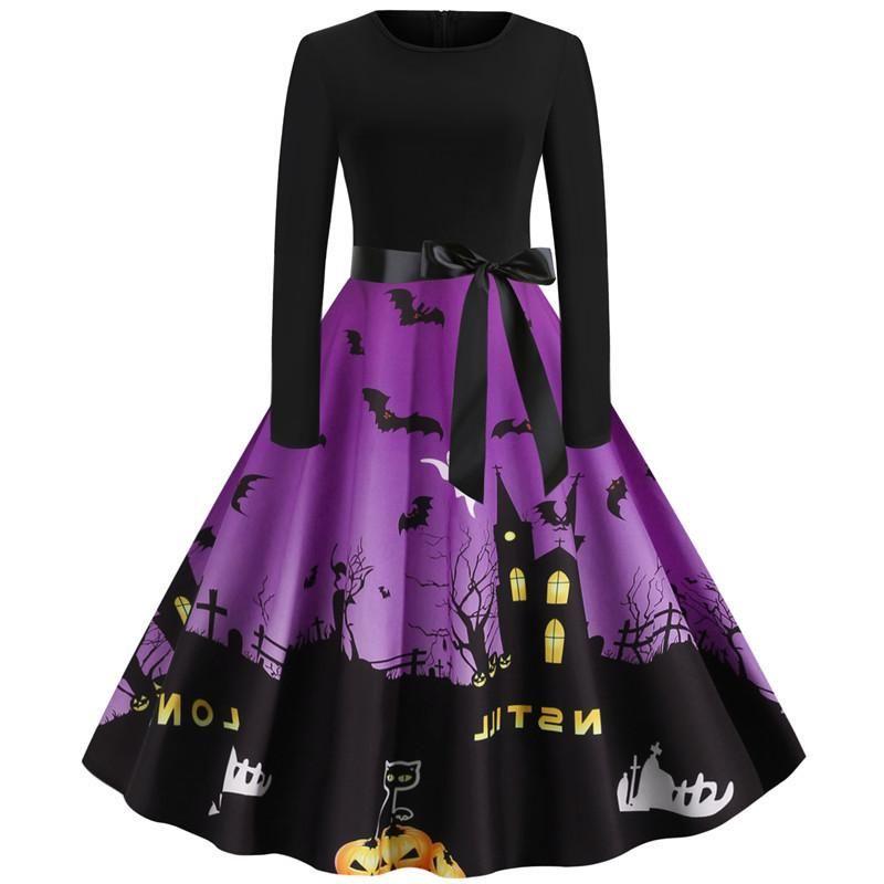 Vestidos casuais junxi wan halloween abóbora impressão manga longa vestido vintage 2021 inverno retalhos pretos festa elegante pinup rouba vestidos