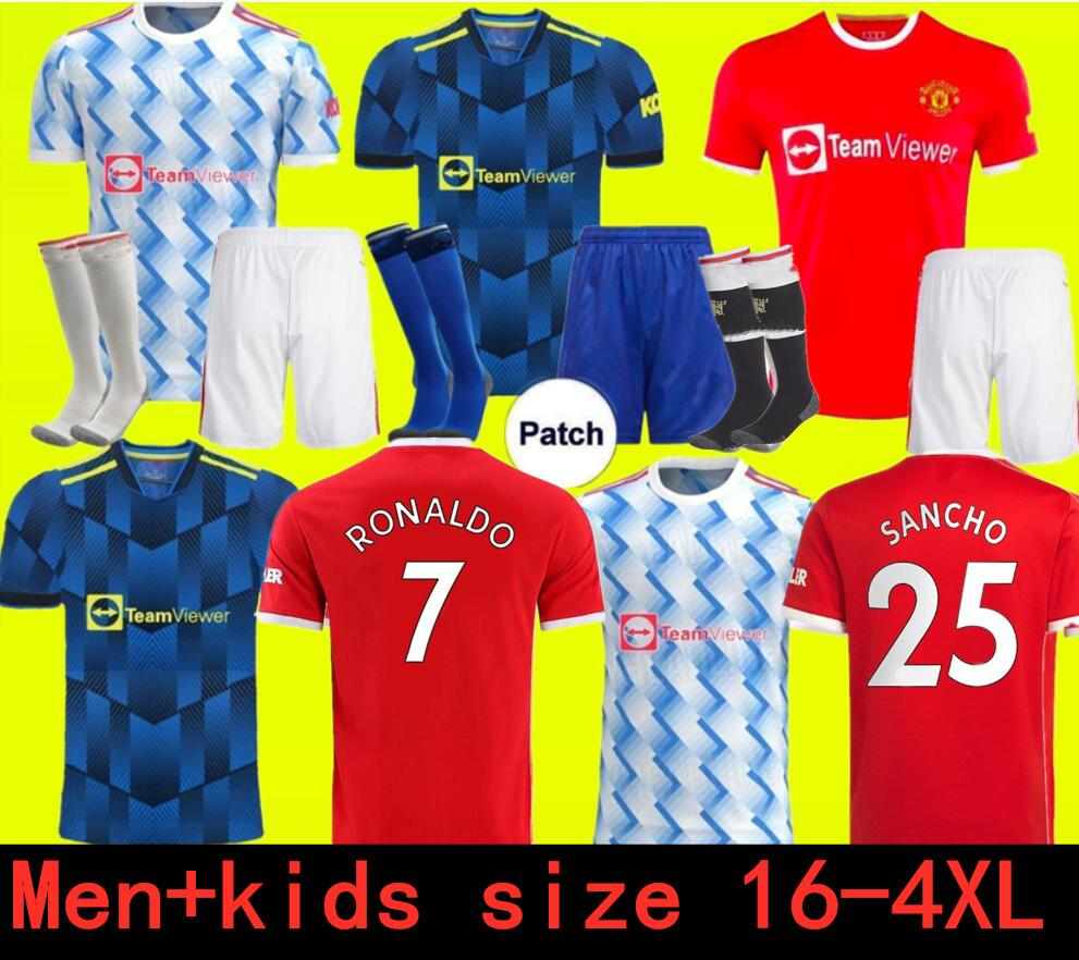 Ronaldo 21 22 Sancho Manchester Soccer Jerseys United Bruno Fernandes Martial Utd Pogba Rashford كرة القدم قميص 2021 2022 Man + Kids Kit Shirts Lindelof Maguire James