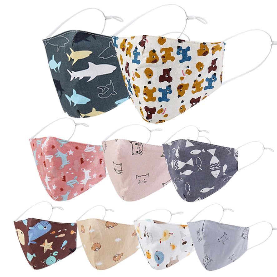 قناع الوجه للأطفال 3d الطباعة الكرتون القط الكلب الأسماك القطن أقنعة الاطفال الغبار تنفس مكافحة الغبار faceMask بالجملة