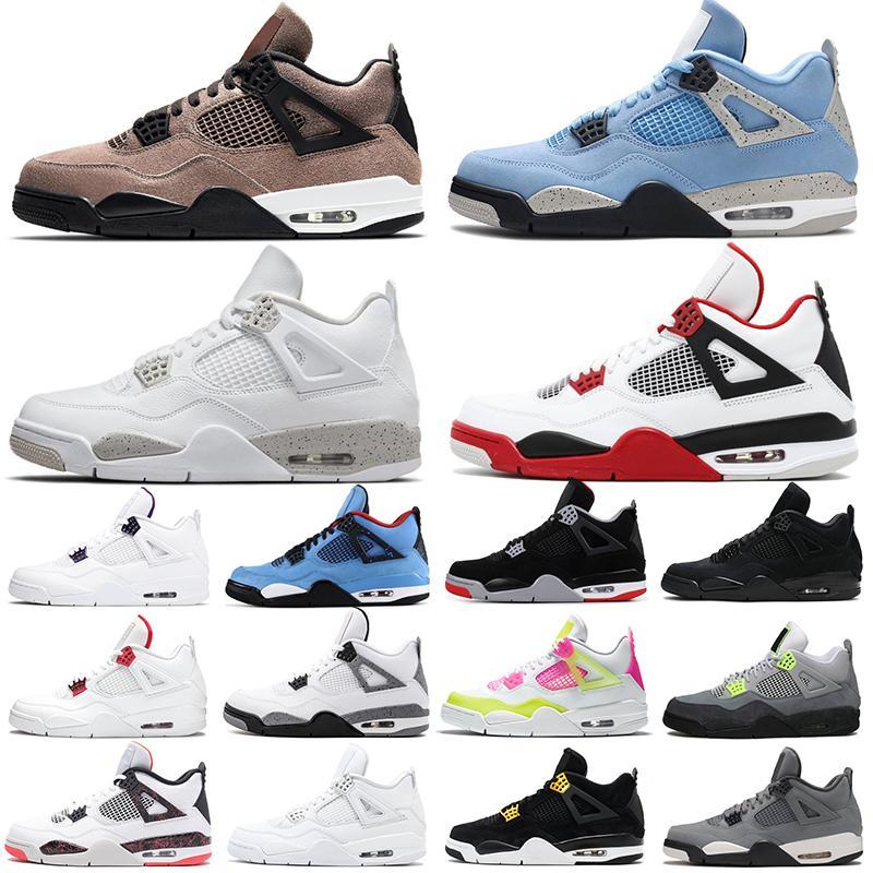 Descuento University Blue 4S Zapatos de baloncesto Jumpman 4 Taupe Haze White Oreo Fuego Rojo Negro Gato Mujeres Mens entrenadores Deportes Zapatillas de deporte Tamaño 36-47