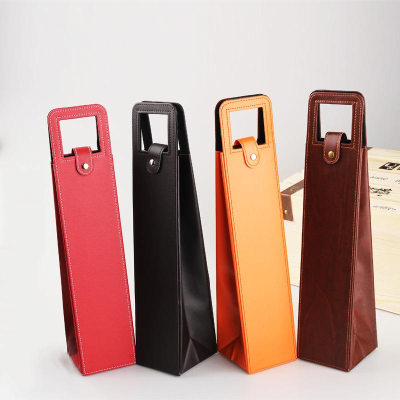 Portable Leather Wine Bag Gift Wrap Luxury Single Wines Bottle Packaging Bags Holiday Gifts 4 Colors