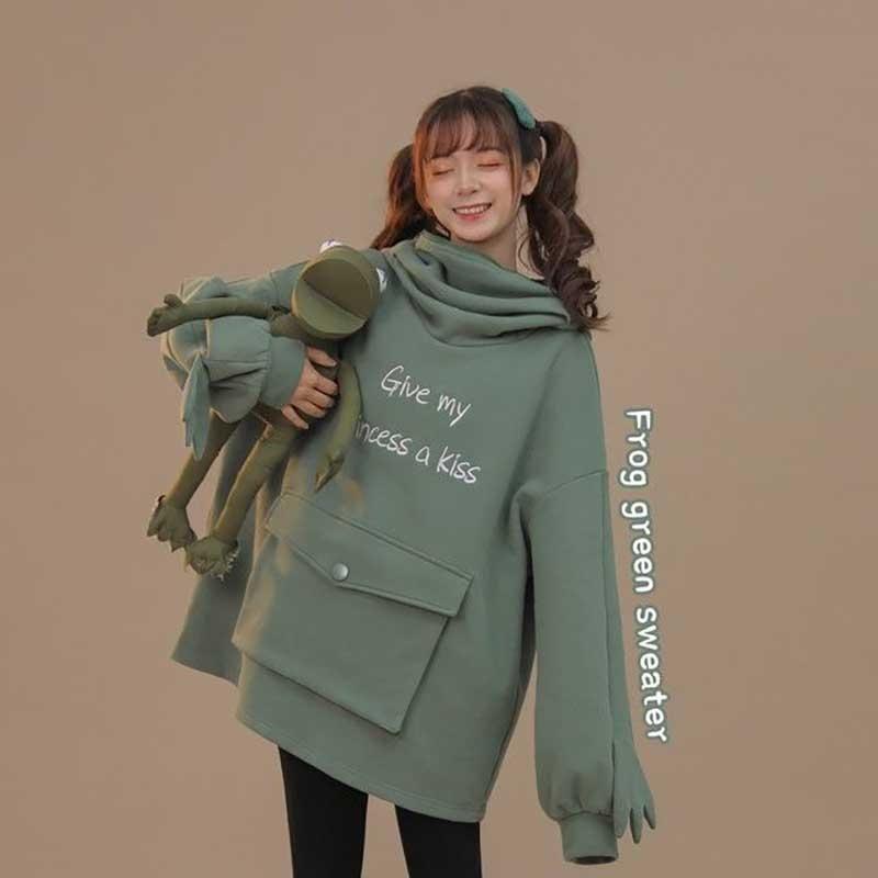 Donne autunno Autunno Spesso Felpa allentata Harajuku Lettere stampate Lovely Frog Casual Cappuccio con cappuccio pullover Femmina Addensori C Donna Felpa femminile