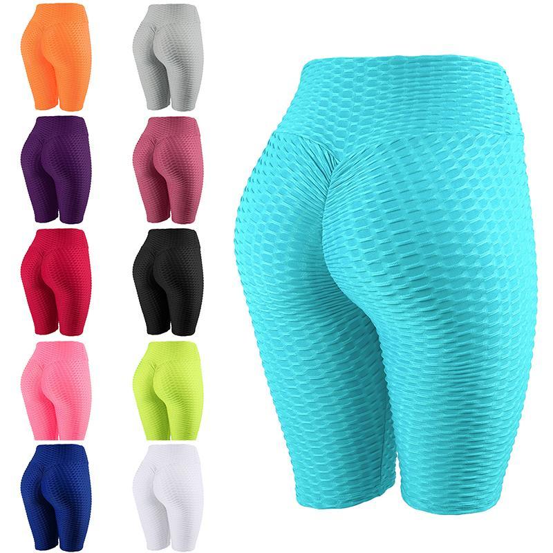 Abiti da yoga da donna Leggings sportivi per modellare il semifurto a vita alta a vita alta colore pura ragazza estate ragazza pantaloni da corsa