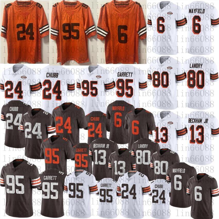 2021 Männer Fußball 13 Odell Beckham JR 6 Baker Mayfield 95 Myles Garrett 24 Nick Chubb 80 Jarvis Landry Orange 1946 Jersey 75th Nähte Trikots
