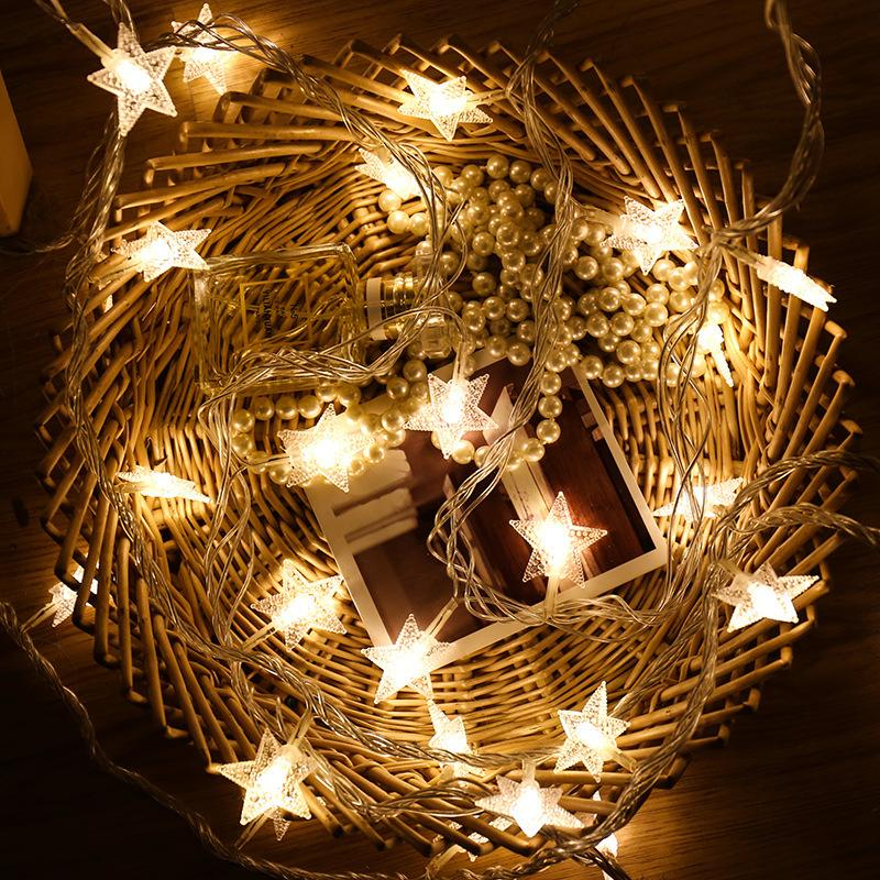 LED Room Lights Net Red Christmas Day Bedroom Romantic Flashing Small Star Starry String Decoration Dxets