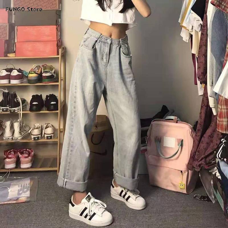 Jeans femininos cintura ajustável com fivela 2021 outono retro seta straight estilo de rua alta cintura