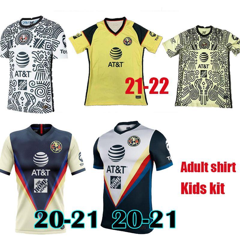 Yetişkin Gömlek Çocuk Kiti 20 21 22 Liga MX Club Amerika Üçüncü Sarı Futbol Forması 2021 2022 Ev Giovani Ochoa Cordova Futbol Camiseta de Futbol