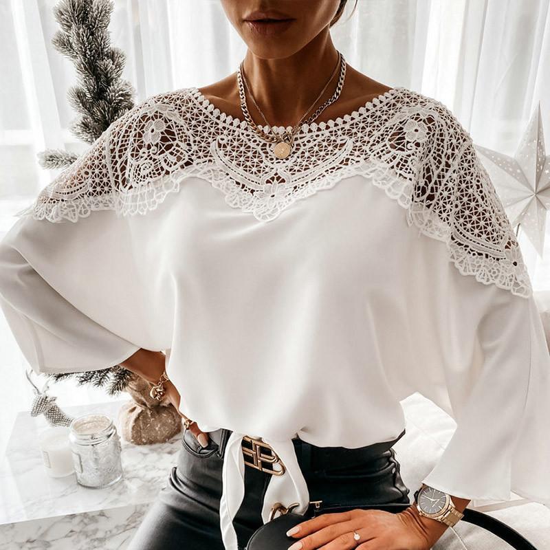 Camicetta di pizzo estivo da donna 2021 Camicie O-Collo Solido Top Nero Scava fuori Three Quarter Sleeve Tunic Shouss Bluses Feminina