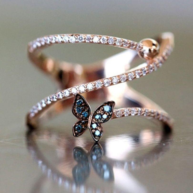 النساء الفاخرة فراشة شكل خواتم الاصبع مع الأحجار الجانبية النسخة الكورية روز لون الذهب تويست مجوهرات مجوهرات