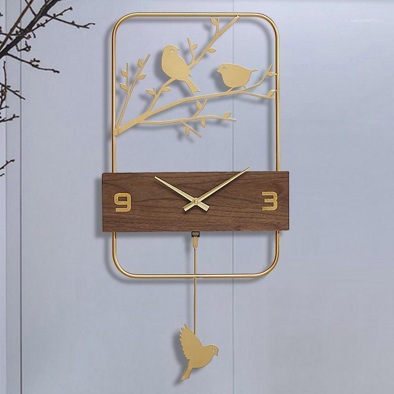 호산 유럽 스타일 현대 디자인 시계 벽 사슴 조류 Klok 시계 홈 장식 Horloge 큰 빈티지 Reloj acred saat1