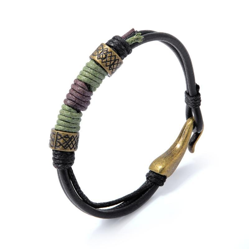 Charm Bracelets Simple Black Leather Brown Rope Woven & Bangles For Man Woman Easy-hook Wristband Jewelry Accessories Gift