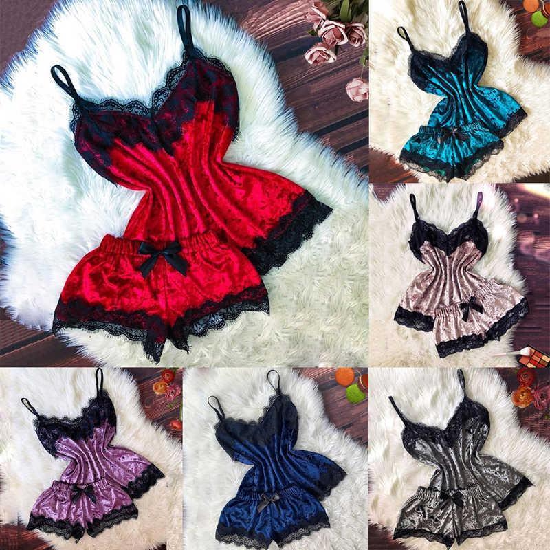 Womens 2 Pcs Pajamas Set Sexy Satin Lace Sleepwear Babydoll Lingerie Nightdress Hot J325