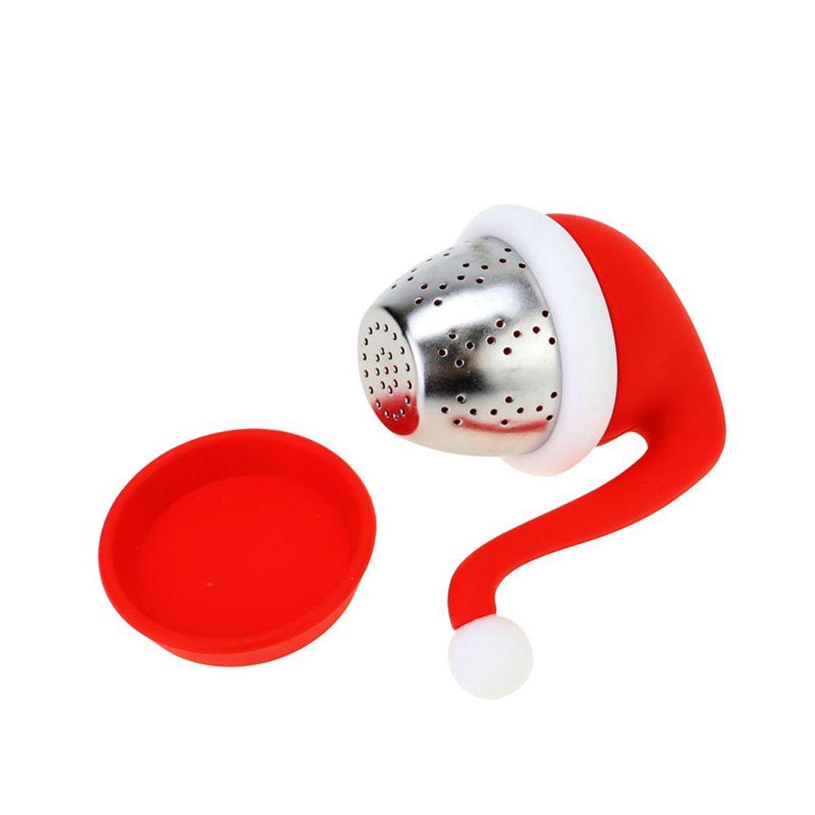 Chapéu do Natal Forma Saquista de Chá Infusor Filtro de Silicone Filtro de Silicone Presente Criativo Projeto Criativo Resistente a Alta Temperatura RRB8887