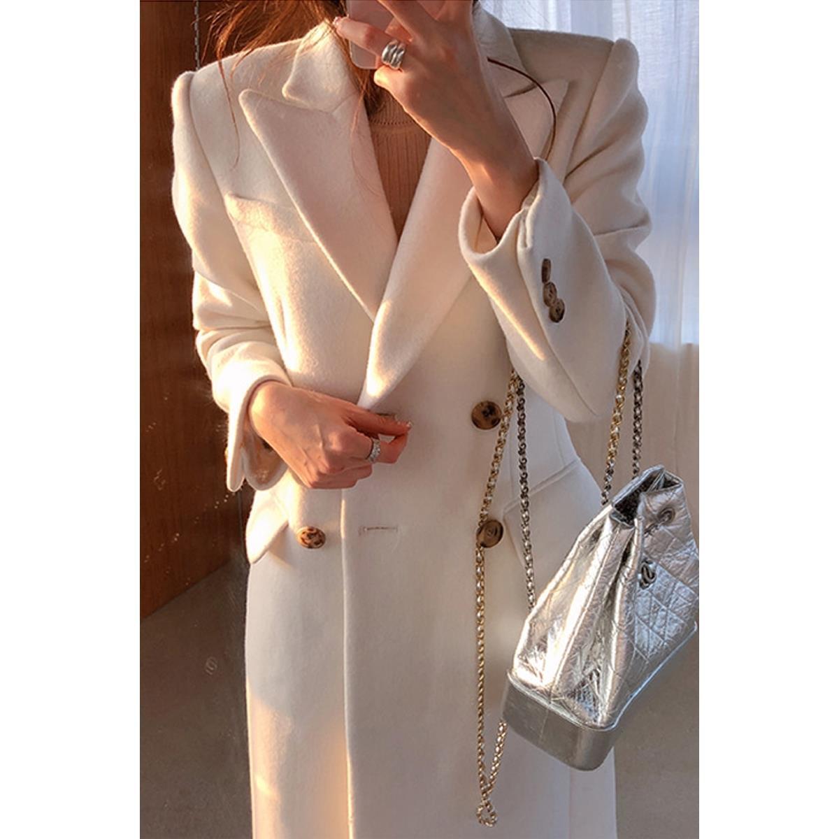 Heydress 2021 Winter Femmes Solide Slim élégant manteau de laine Ice Lady White Streetwear femme femme épaissie chaude à double boutonnage