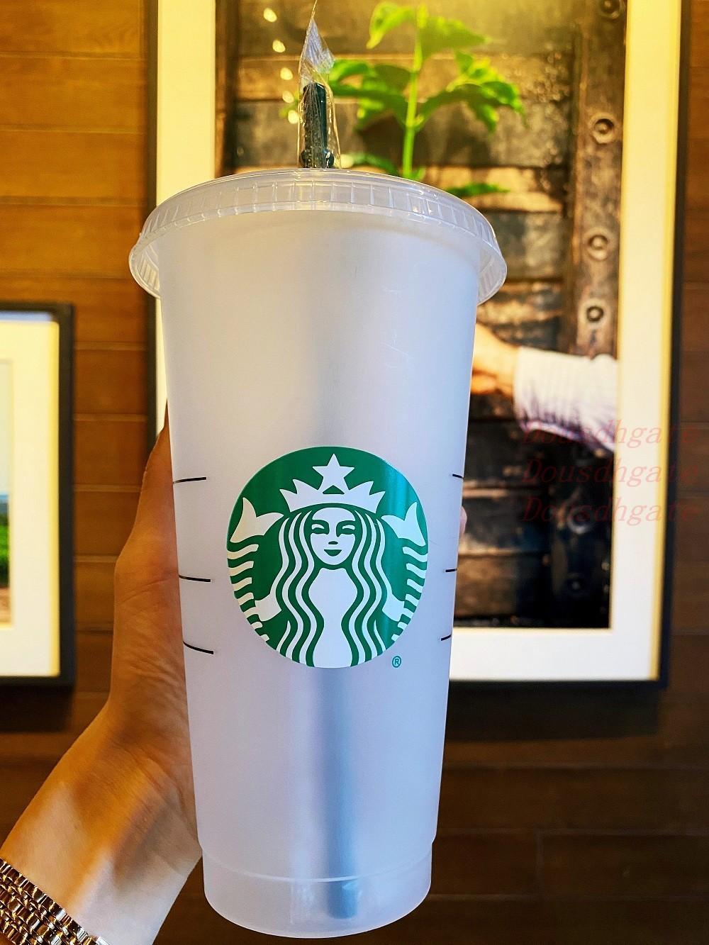 인어 여신 Starbucks 24oz / 710ml 플라스틱 머그잔 텀블러 재사용 가능한 명확한 마시는 평면 바닥 기둥 모양 뚜껑 밀짚 컵 컵
